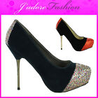 NEW LADIES GLITTER STILETTO SEXY HIGH HEEL PLATFORM COURT SANDALS SHOES UK 3-8