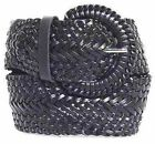 "Narrow 1 3/4""  Black Braided Belt for Women Leather 1.75"" Cinch New Ladies"