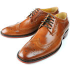 US5-12 REAL Leather Brogue Wingtip Lace Up Formal Dress Shoes oxford mens shoes