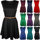 New Womens Plus Size Belted Skater Ladies Sleeveless Flared Short Dress 16 - 26