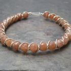 Sunstone Faceted Beaded Sterling Silver Wire Wrapped Bracelet