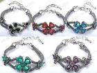Fashion Crystal Flower Resin Tibet Silver Charms Bracelets Bangle Jewelry