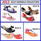 NEW 2013 LADIES WOMENS JELLY SUMMER SANDALS SANDALS SLINGBACK DIAMANTE BOW FLAT