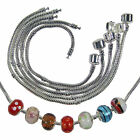 Silver Plated Snake Charm Bracelets for Lampwork Murano Beads 1 - 10 Pcs