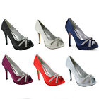 New Ladies Peep Toe High Stiletto Heel Diamante Court Shoes Wedding Sizes UK 3-8