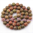 """Round Multicolor Unakite Gemstone For DIY Jewelry Making Spacer Beads 15"""" 6-12mm"""