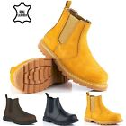 MENS LEATHER SAFETY WORK CHELSEA DEALER ANKKLE BOOTS STEEL TOE CAP SHOES SIZE UK