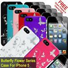 Butterfly Flower Hard Plastic Case Cover Skin For iPhone 5 & iPhone 5S with Scre