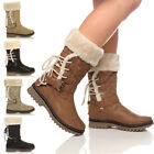 Womens ladies girls flat low heel lace fur lined snow winter calf boots size