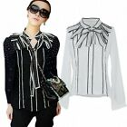 Retro Womens OL Career Embroidery Bowknot Neck Blouse Tops Long Sleeve T-Shirts