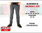 Skinny Fit Kayden K Charcoal Twill Gray Jeans New Mens Pants 30 32 34 36 38 NWT