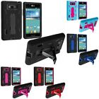 Hybrid Heavy Duty Hard/Soft Case Cover with Stand for LG Splendor US730 Venice