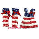 4th July Blue Star Red White Lace Pettidress Party Dress Warmers 2pcs Set 6M-5Y