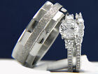Women's Sterling Silver 0.84 CT CZ Engagement Ring Men's Wedding Bridal Band Set