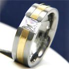 Titanium Engagement Wedding 1.05 CT Clear Solitaire CZ Men Anniversary Band Ring