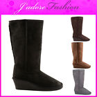 NEW LADIES CASUAL COMFY LOW HEEL WEDGE PULL ON WINTER  LONG BOOTS SIZES UK 3-8
