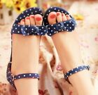 Womens Ladies Summer Polka Dot Ankle Strap Flat Sandals Shoes Plus Size #328