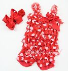 Newborn Baby Girls Minnie Mouse Lace Petti Rompers Straps Red Bow Headband 2pc