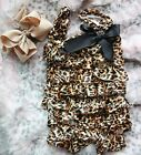 Newborn Baby Brown Leopard Satin Rompers Romper Huge Bow Headband 2pc Set NB-3Y