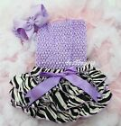 Newborn Baby Lavender Zebra Ruffles Bloomers Tube Top Bow Headband 3pc NB-24M
