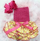 Newborn Baby Yellow Polka Dots Bloomers Hot Pink Tube Top Bow Headband 3pc 0-24M