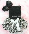 Newborn Baby Demask Ruffles Bloomers Black Tube Top Bow Headband 3pc NB-24M