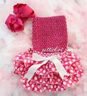 Baby Minnie Mouse Polka Dots Bloomers Hot Pink Tube Top Bow Headband 3pc NB-24M