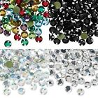 144 Iron On Hot Fix Faceted Rhinestone Crystals W/ Glue on Flat Back Small - Big