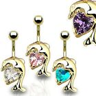 Stunning Gold Plated CZ Dolphin Belly Bar Navel Piercing Surgical Steel (P43)