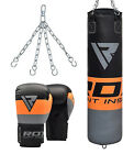 RDX 5FT / 4FT Heavy Filled Punch Bag Set,Boxing Gloves MMA Punching Muay Thai Gi