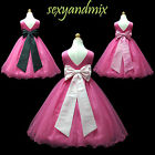 USD59A Hot Pink/ Black/Light Pink Pageant Wedding Flower Girls Dress 1 to 14 Yrs