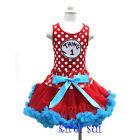 Girls Polka Dots Red Blue Pettiskirt Thing 1 Tank Top Party Dress 1-7Y