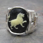 Leo Cameo Zodiac Astrology Sign Sterling Silver Wire Wrapped Ring ANY Size