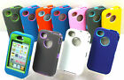 FOR iPHONE 4 4S IMPACT DEFENDER HYBRID RUGGED HARD CASE w / BUILT IN SCREEN COVER