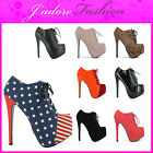 NEW LADIES HIGH HEEL STILETTO PLATFORM  LACE UP FASHION ANKLE BOOTS SIZES UK 3-8