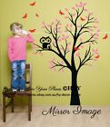 Owl Tree Branch Removable Wall Art Stickers Kids Nursery Baby Room Vinyl Decals