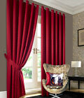 Heavy Jacquard Curtains - Red Faux Silk Eyelet Ready Made Ring Top Lined Curtain