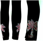 PLUS SIZE FULL-LENGTH LEGGINGS WITH EMBELLISHED RHINESTONE PINK PALM TREES