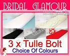3 x Soft Wedding Tulle Bolt 1.4m x 36m Fabric Roll -White/Ivory/Black/Silver/Red