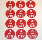 25mm 1 Inch Red '2 For £5' Promotional Retail Display Stand Stickers Labels Tags