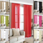 2 Slot Top Voile Net Panels, Voiles Curtains Pair, Rod Many Sizes & Colours