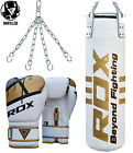 RDX Leather Punch Bag Boxing Filled MMA Punching Gloves Kickboxing Muay Thai