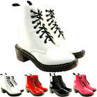 WOMENS VINTAGE RETRO PUNK GOTH LACE UP HEELED ANKLE BOOTS SHOES LADIES NEW 3-8