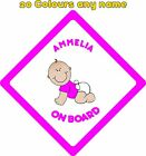 Personalised Baby on Board Car Stickers Decals A677