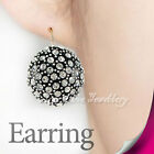 White Black Pink Half Ball Earring Use Swarovski Crystal 2170-2172 Free Pouch