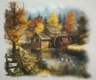 Scenic Long Sleeve Shirt Autumn Cabin Woods Forest Nature Water Mill Bridge Wild