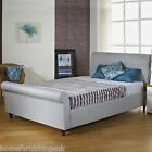 FABRIC UPHOLSTERED 3FT/4FT/4FT6/5FT/6FT SLEIGH BED + MEMORY FOAM/ORTHO MATTRESS