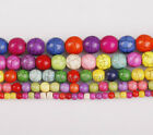 New Colored Flawed Howlite Turquoise Gemstone Round Beads 5Size For Choose
