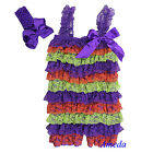 Baby Girl Halloween Purple Orange Green Lace Petti Romper Bow Headband 2pc NB-5Y