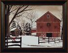THE CHRISTMAS BARN by Billy Jacobs 15x19 FRAMED PRINT Farm Snow Winter PICTURE